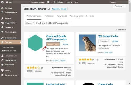 Как сделать GZIP сжатие страниц сайта на WordPress плагином
